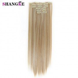 24 Long Straight Hair Extension 6 Pcs/Set 16 Clips Heat Resistant Synthetic Hairpieces False Hair Pieces Shangke/hoodmat.com