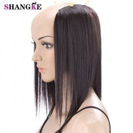 2 Pieces 3 Clips In Hair Extensions Medium Straight Hairpieces Natural Fake Hair Pieces Heat Resistant Synthetic Hair Shangke/hoodmat.com