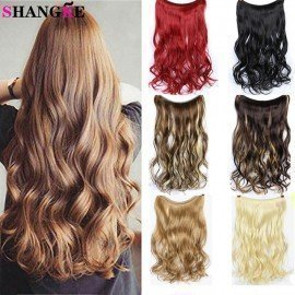 24 Inch Long Curly Extension Synthetic Hair Heat Resistant Hairpiece Fish Line Straight Hair Extensions Wire Hairpiece  Shangke/hoodmat.com