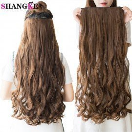 28  Long Synthetic Hair Clip In Hair Extension Heat Resistant Hairpiece Natural Wavy Hair Piece Shangke/hoodmat.com