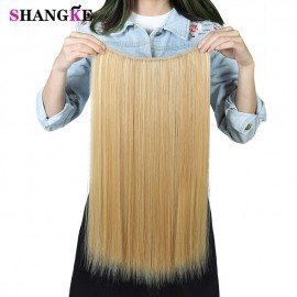 24 Flip On Wire In Synthetic Hair Extension Hidden Invisible Not Clip In Headband Straight High Temperature Fiber  Shangke/hoodmat.com