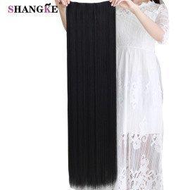 80 Cm Long Straight Women Clip In Hair Extensions Heat Resistant Synthetic Hair Piece Black Dark Brown Hairstyle  Shangke/hoodmat.com