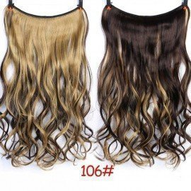 22 Invisible Wire No Clips In Hair Extensions Secret Fish Line Hairpieces Silky Straight Real Natural Synthetic Shangke/hoodmat.com