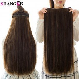 5 Clips/Piece Natural Silky Straight Hair Extention 24&Quot;Inches Clip In Women Pieces Long Fake Synthetic Hair Shangke/hoodmat.com
