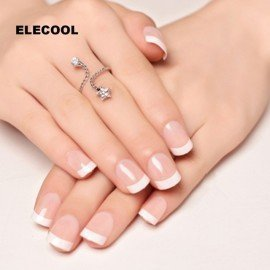 24Pcs Natural Short False Nails Acrylic Round Short French Nail Art Tips With 2G Glue Nail Art Decoration  Shangke/hoodmat.com