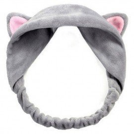 Cute Cat Ears Headband Hairband Turban Spa Bath Wash Elastic Hair Band Wrap Clips Hair Accessories Makeup Tool  Shangke/hoodmat.com