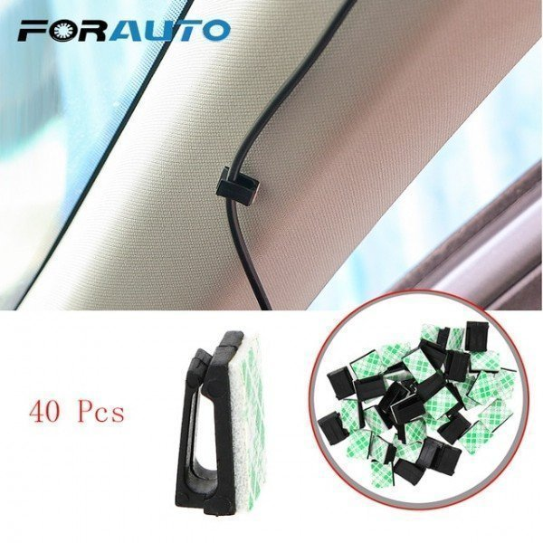 40Pcs Car Vehicle Data Cord Cable Tie Mount Wires Fixing Clips Clamp Auto Fasteners Stowing Tidying Interior Accessories Forauto/hoodmat.com