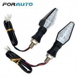 1 Pair Motorbike Indicator Light Led Turn Signal Lamp Blue &Amp; Amber Blinker Light Motorcycle Flasher Dual Color 12 Led Forauto/hoodmat.com