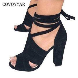 Ankle Strap Gladiator Sandals Women 2019 New Summer Peep Toe Cut Out Lady High Heels Cross Tied Women Shoes Wss965 Covoyyar/hoodmat.com