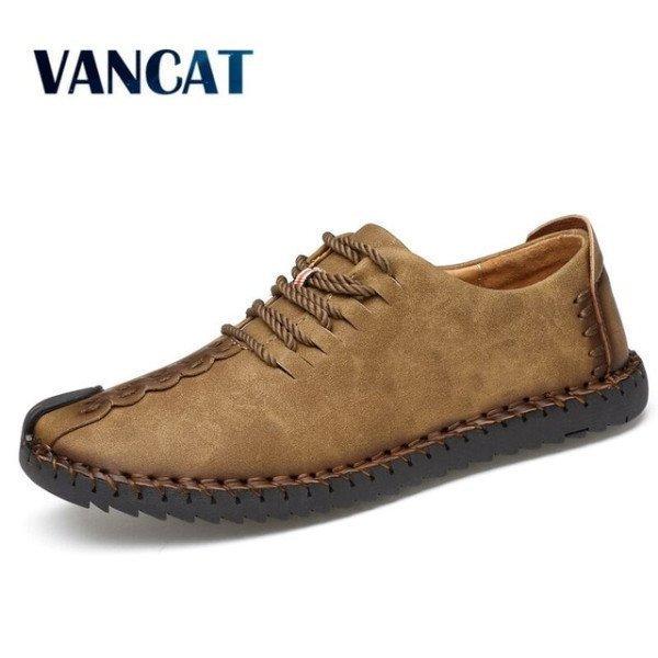 2018 New Comfortable Casual Shoes Loafers Men Shoes Quality Split Leather Shoes Men Flats Hot Sale Moccasins Shoes Vancat/hoodmat.com