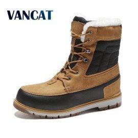 Winter Warm Plush Fur Snow Boots Men Ankle Boot Quality Casual Motorcycle Boot Waterproof  MenS Boots Big Size 39-47 Vancat/hoodmat.com