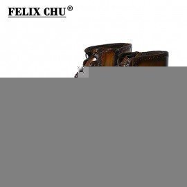 2018 Fashion Design Genuine Leather Men Ankle Boots High Top Zip Lace Up Dress Shoes Black Brown Man Basic Boots Felix Chu/hoodmat.com
