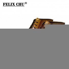 2018 Classic Crocodile Print Genuine Leather Men Ankle Boots High Top Brown Dress Shoes With Wingtip Detail Size 39-46 Felix Chu/hoodmat.com