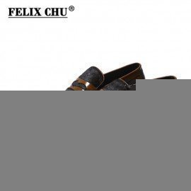 2018 Brand New Luxury Men Brown Penny Loafer Patchwork Of Genuine Leather And Horsehair Round Toe Slip On Dress Shoes Felix Chu/hoodmat.com
